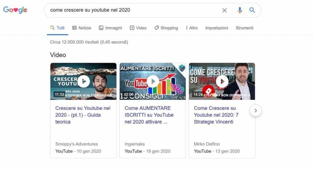 Posizionare video Yotuube su Google