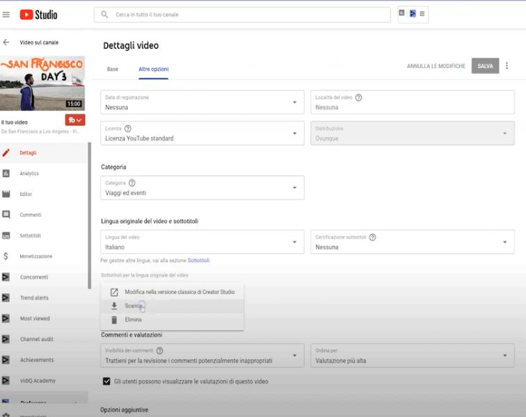 Attivare sottotitoli youtube tuo video