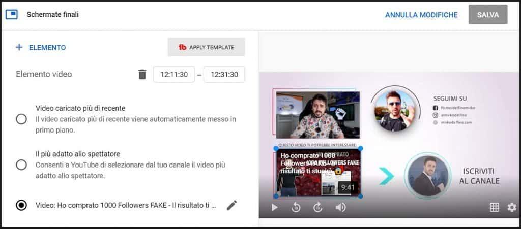 come impostare schermate finali youtube