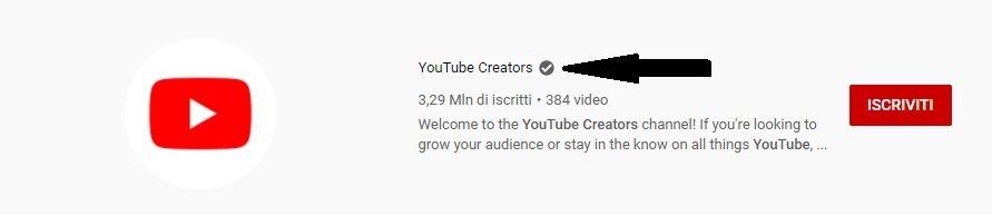 canale verificato su youtube