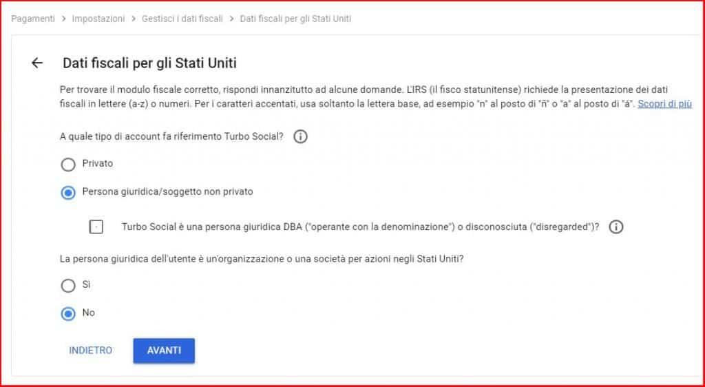 compilazione dati fiscali persona giuridica