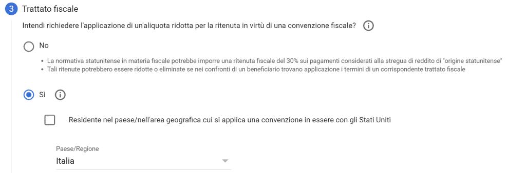Compilazione dati fiscali youtube adsense trattato fiscale